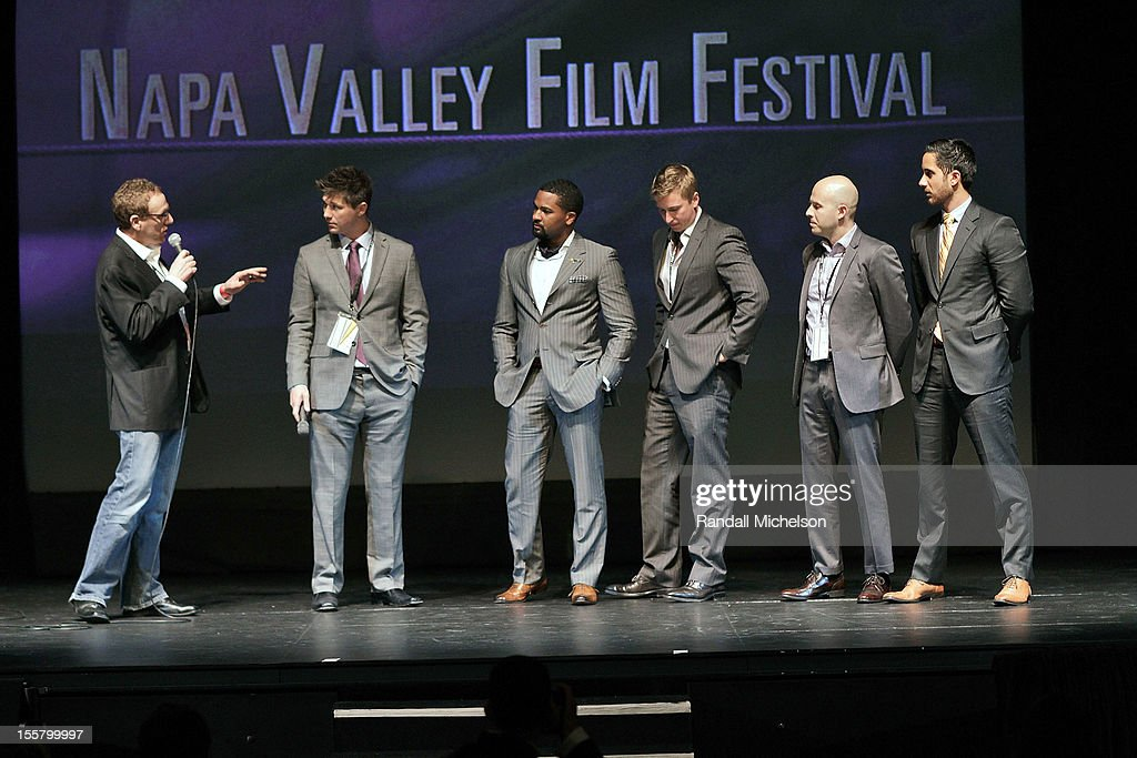 CoFounder and Artistic Director Marc Lhormer Director Jason Wise Sommeliers DLynn Proctor Ian Cauble Dustin Wilson and Brian McClintic onstage at the...