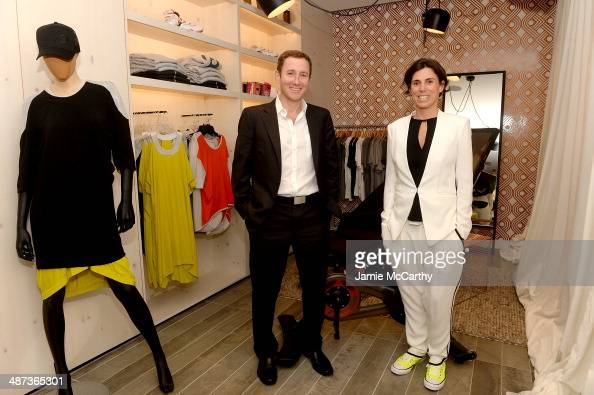 CoFounder and CEO John Foley and cofounder Marion Roaman attend the Peloton's Launch Party For Flagship Spin Studio In NYC on April 29 2014 in New...