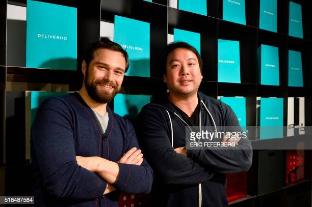 Cofounder and CEO of Deliveroo William Shu and Deliveroo France general director Adrien Falcon pose in the company's premises on March 31 2016 in...