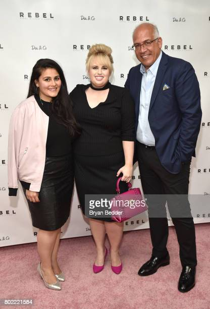 CoFounder and CEO of DiaCo Nadia Boujarwah Rebel Wilson and Charles Mamiye pose for a photo together at the REBEL WILSON X ANGELS Collection Launch...