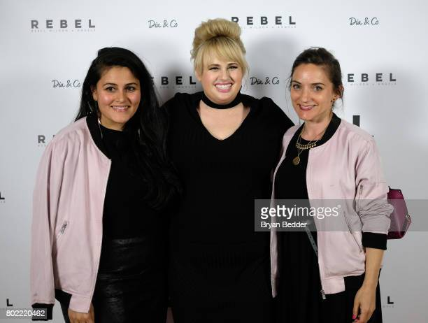 CoFounder and CEO of DiaCo Nadia Boujarwah Rebel Wilson and Cofounder at DiaCo Lydia Gilbert pose for a photo at the REBEL WILSON X ANGELS Collection...