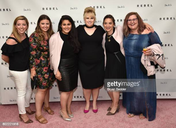 CoFounder and CEO of DiaCo Nadia Boujarwah Rebel Wilson and Cofounder at DiaCo Lydia Gilbert pose for a photo with guests at the REBEL WILSON X...