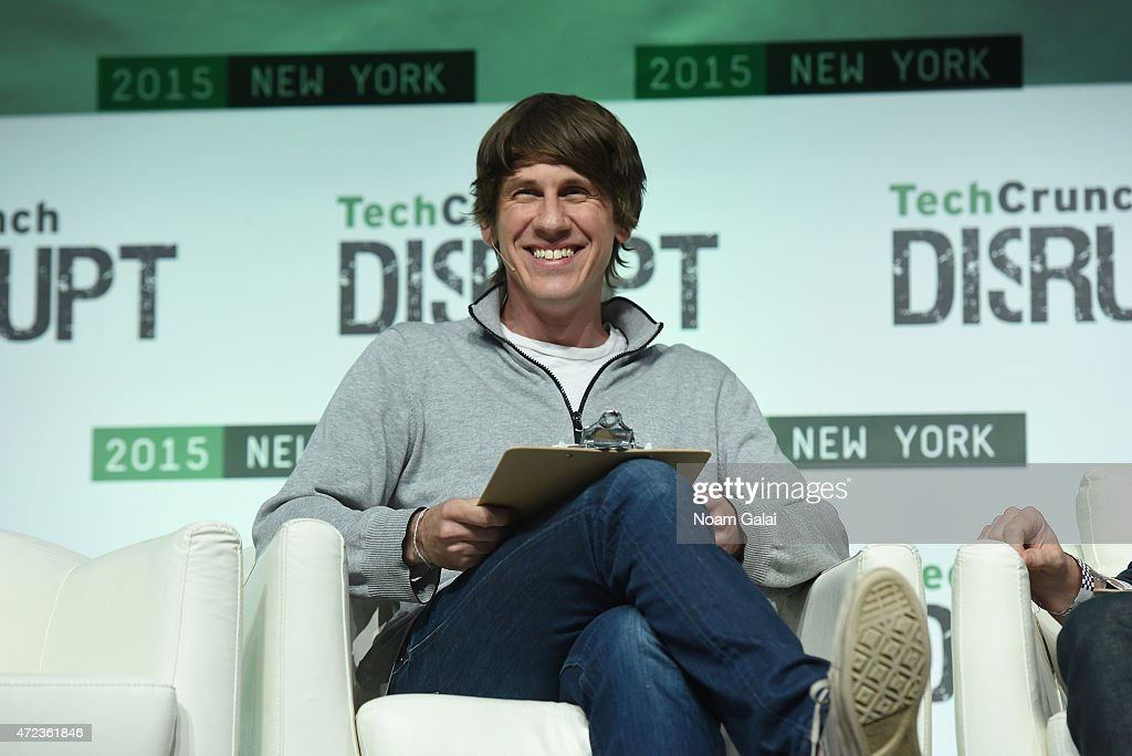 Co-Founder and CEO of FourSquare, <a gi-track='captionPersonalityLinkClicked' href=/galleries/search?phrase=Dennis+Crowley&family=editorial&specificpeople=6729326 ng-click='$event.stopPropagation()'>Dennis Crowley</a> appears onstage during TechCrunch Disrupt NY 2015 - Day 3 at The Manhattan Center on May 6, 2015 in New York City.