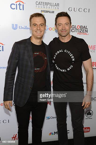 CoFounder and CEO of Global Citizen and Global Poverty Project Hugh Evans and actor Hugh Jackman attend the 2015 Global Citizen Festival to end...