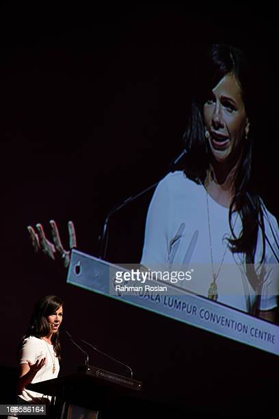CoFounder and CEO of Global Health Corps Barbara Bush delivers her speech during a session at The Women Deliver Conference on May 28 2013 in Kuala...