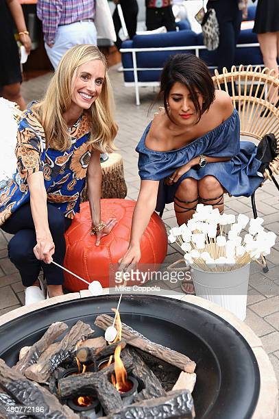 Cofounder and CEO of Guest of a Guest Rachelle Hsruska and designer Azeeza Khan participate in outdoor refresher courses at the It's Officially...