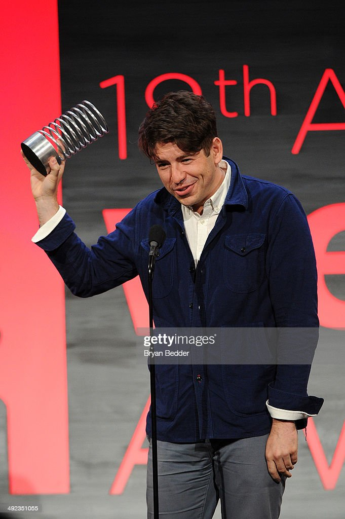 Cofounder and CEO of Kickstarter Yancey Strickler accepts an award at the 18th Annual Webby Awards on May 19 2014 in New York City