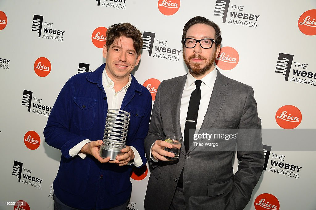 Cofounder and CEO of Kickstarter Yancey Strickler and journalist Joshua Ryan Topolsky pose backstage at the 18th Annual Webby Awards on May 19 2014...
