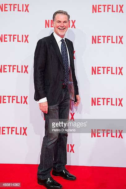 Cofounder and CEO of Netflix Reed Hastings attends the red carpet for the Netflix launch at Palazzo Del Ghiaccio on October 22 2015 in Milan Italy