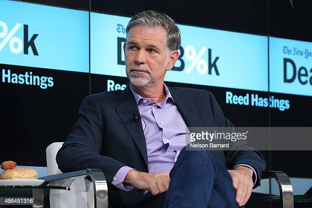 Cofounder and CEO of Netflix Reed Hastings participates in a panel discussion at the New York Times 2015 DealBook Conference at the Whitney Museum of...