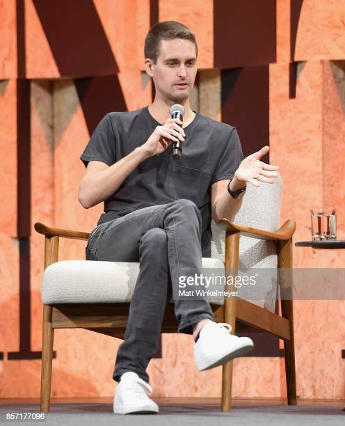 CoFounder and CEO of Snap Inc Evan Spiegel speaks onstage during Vanity Fair New Establishment Summit at Wallis Annenberg Center for the Performing...