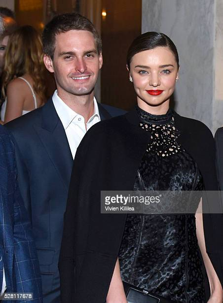Cofounder and CEO of Snapchat Evan Spiegel and model Miranda Kerr attend the Berggruen Institute 5 Year Anniversary Celebration at The Beverly...