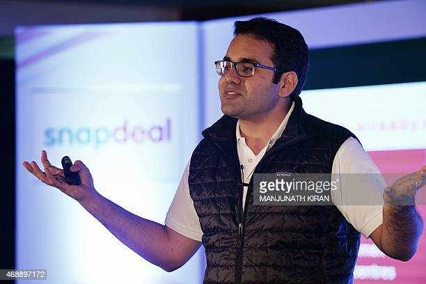 CoFounder and CEO of Snapdeal Kunal Bahl gestures while addressing the media in Bangalore on April 8 2015 India's largest online marketplace Snapdeal...