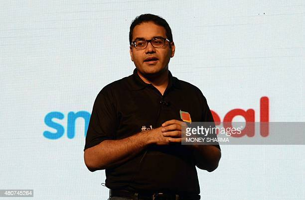 Cofounder and CEO of Snapdeal Kunal Bahl speaks during a press conference in New Delhi on July 15 2015 Snapdeal India's fastgrowing ecommerce website...
