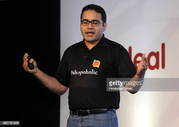 Cofounder and CEO of Snapdeal Kunal Bahl speaks during the launch of Shopo a zero commission marketplace app on July 15 2015 in New Delhi India...