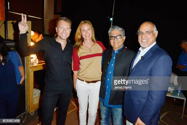 WORLDZ cofounder and CEO Roman Tsunder actress Connie Nielsen Dr Deepak Chopra and Chief Marketing Officer Mastercard Raja Rajamannar attend WORLDZ...