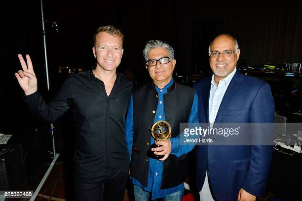 WORLDZ cofounder and CEO Roman Tsunder Dr Deepak Chopra and Chief Marketing Officer for Mastercard Raja Rajamannar attend WORLDZ Cultural Marketing...