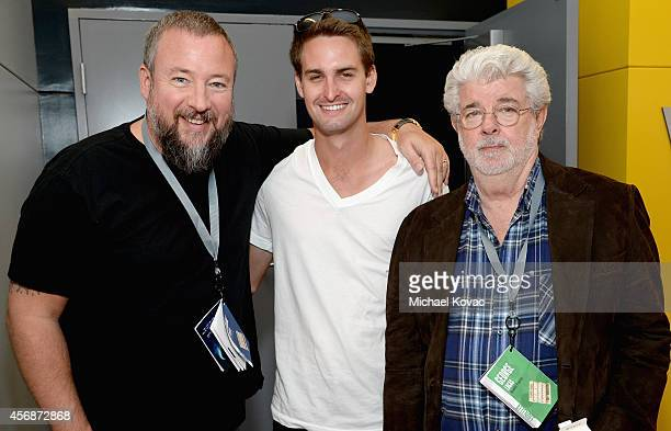 VICE CoFounder and CEO Shane Smith Snapchat CEO Evan Spiegel and filmmaker George Lucas attend the Vanity Fair New Establishment Summit at Yerba...