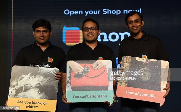 CoFounder and CEO Snapdeal Kunal Bahl Snapdeal Chief Product Officer Anand Chandrasekaran and Senior vicepresident of Shopo Sandeep Komarvelly attend...