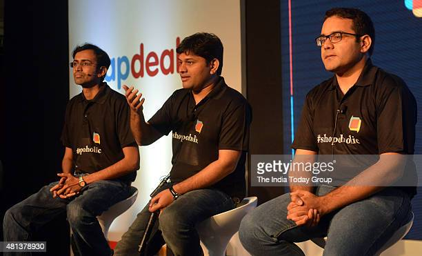 CoFounder and CEO Snapdeal Kunal Bahl Snapdeal Chief Product Officer Anand Chandrasekaran and Senior vicepresident of Shopoholic Sandeep Komarvelly...