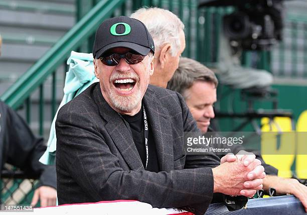 Cofounder and chairman of Nike Phil Knight attends day nine of the US Olympic Track Field Team Trials at the Hayward Field on June 30 2012 in Eugene...
