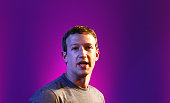 Cofounder and chief executive of Facebook Mark Zuckerberg gestures as he announces the Internetorg Innovation Challenge in India on October 9 2014 in...