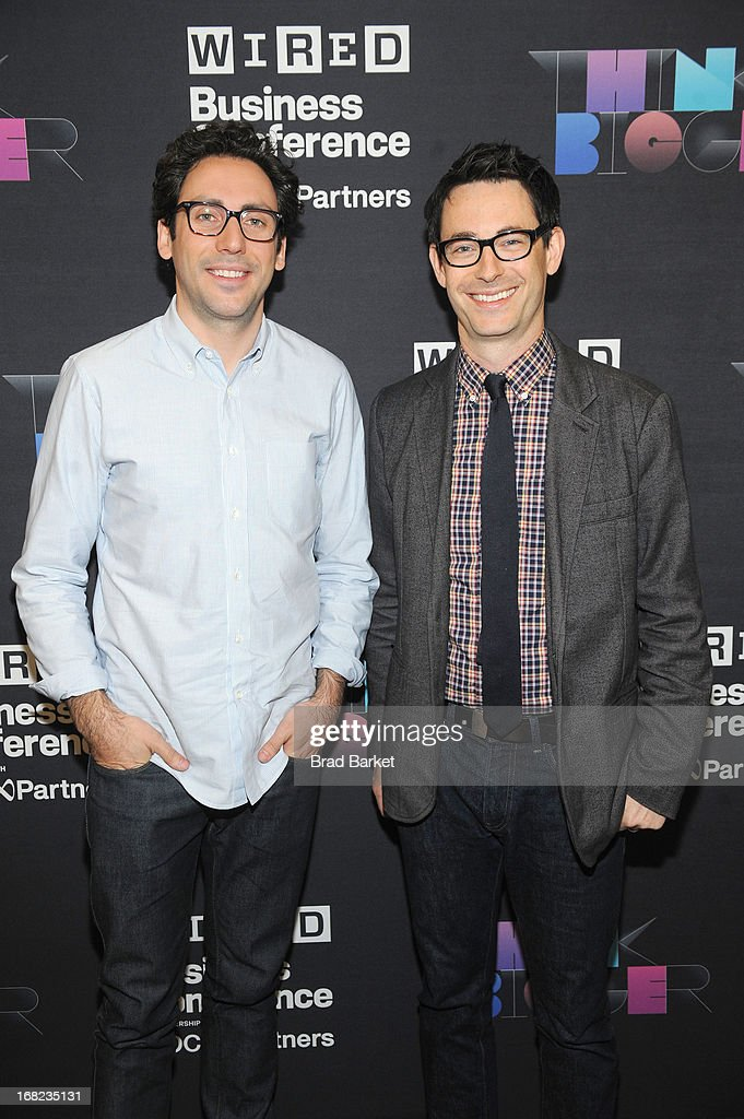 Cofounder and CO-CEO of Warby Parker, Neil Blumenthal and Executive Editor at Wired, Jason Tanz attend the WIRED Business Conference: Think Bigger at Museum of Jewish Heritage on May 7, 2013 in New York City.