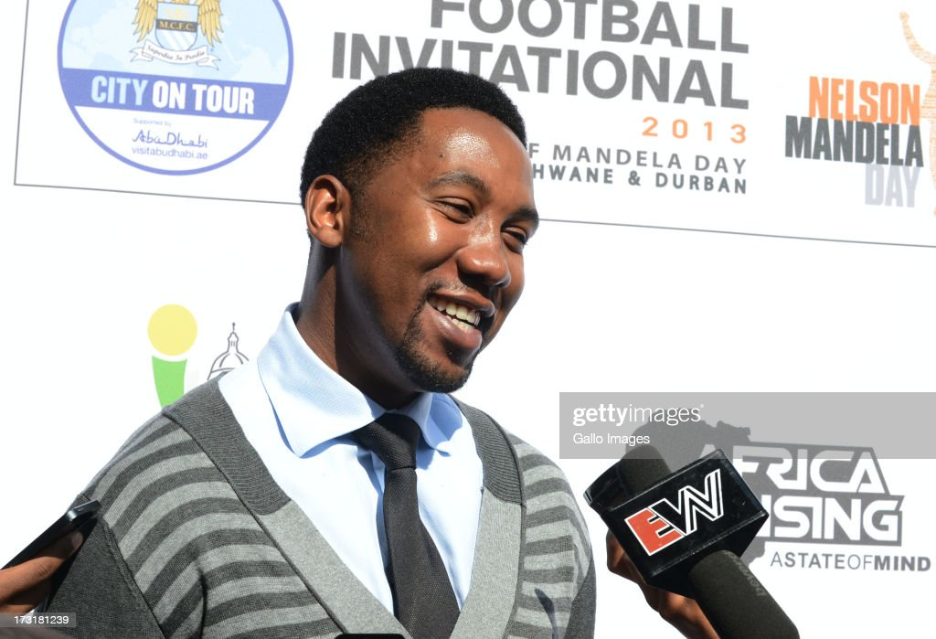 Co-founder and co-chairman of the Africa Rising Foundation Ndaba Mandela, Nelson Mandela's grandson, unveils a giant card to celebrate the 95th birthday of Nelson Mandela during a press conference on the football invitational 2013 in support of Mandela day at Loftus Versveld on July 09, 2013 in Pretoria, South Africa. The football invitational will see English premiership giants Manchester City touring South Africa as part of their upcoming pre-season programme, City on Tour. Two games will be played against top PSL Clubs, the second taking place on Mandela Day on July 18, which marks Mandelas 95th birthday and the fourth Nelson Mandela International Day.
