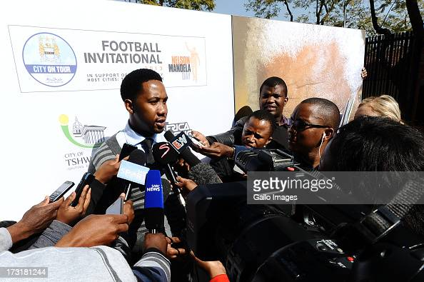 Cofounder and cochairman of the Africa Rising Foundation Ndaba Mandela Nelson Mandela's grandson unveils a giant card to celebrate the 95th birthday...