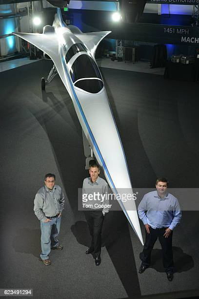 Cofounder and CTO Joshua Krall Cofounder Chief Engineer Joe Wilding and CoFounder CEO Blake Scholl in front of the XB1 Supersonic Demonstrator at the...
