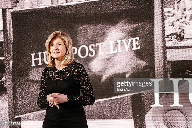 Cofounder and editorinchief of The Huffington Post Arianna Huffington speaks on stage during the AOL 2015 Newfront on April 28 2015 in New York City