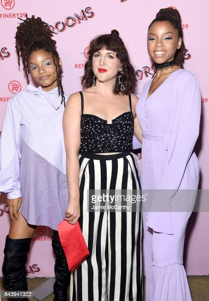 CoFounder and Executive Creative Director of Refinery29 Piera Gelardi poses with RB duo Chloe X Halle at the Refinery29 Third Annual 29Rooms Turn It...