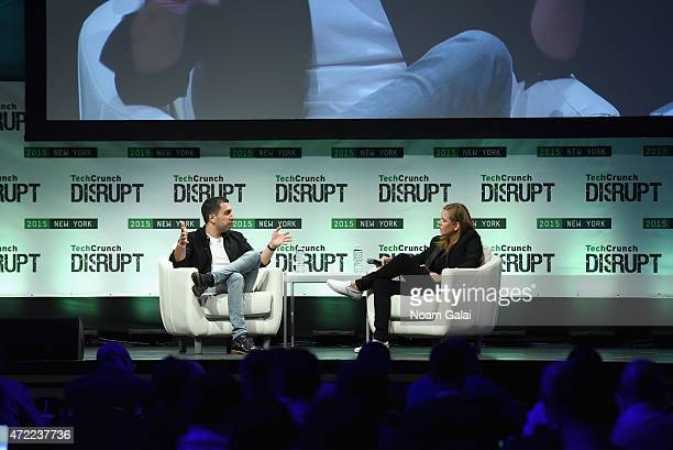 CoFounder and President at Tinder Sean Rad and writer at TechCrunch Jordan Crook speak onstage during TechCrunch Disrupt NY 2015 Day 2 at The...