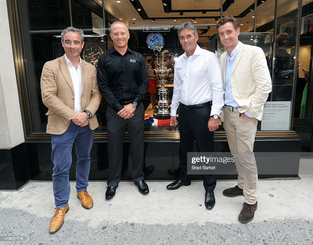 CoFounder Bremont Watch Company Giles English Oracle Team USA member Jimmy Spithill Oracle Team USA CEO Russell Coutts and CoFounder Bremont Watch...
