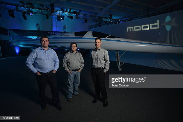 CoFounder CEO Blake Scholl Cofounder and CTO Joshua Krall and Cofounder Chief Engineer Joe Wilding and in front of the XB1 Supersonic Demonstrator at...