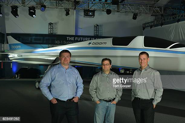 CoFounder CEO Blake Scholl Cofounder and CTO Joshua Krall Cofounder Chief Engineer Joe Wilding in front of the XB1 Supersonic Demonstrator at the...