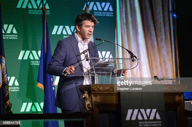 Cofounder CEO of Uber Travis Kalanick speaks onstage at IAVA Heroes Gala 10th Anniversary on November 13 2014 in New York City