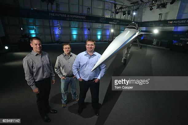 Cofounder Chief Engineer Joe Wilding Cofounder and CTO Joshua Krall and CoFounder CEO Blake Scholl in front of the XB1 Supersonic Demonstrator at the...