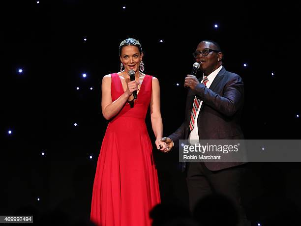 Cofounder Delete Blood Cancer Katharina Harf and Randy Jackson speak onstage at the 9th Annual Delete Blood Cancer Gala on April 16 2015 in New York...