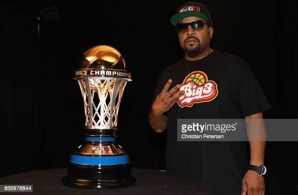 BIG3 cofounder Ice Cube unveils the 24 karat gold 2017 BIG3 Championship trophy crafted by S R BLACKINTON makers of the Kentucky Derby trophy for...