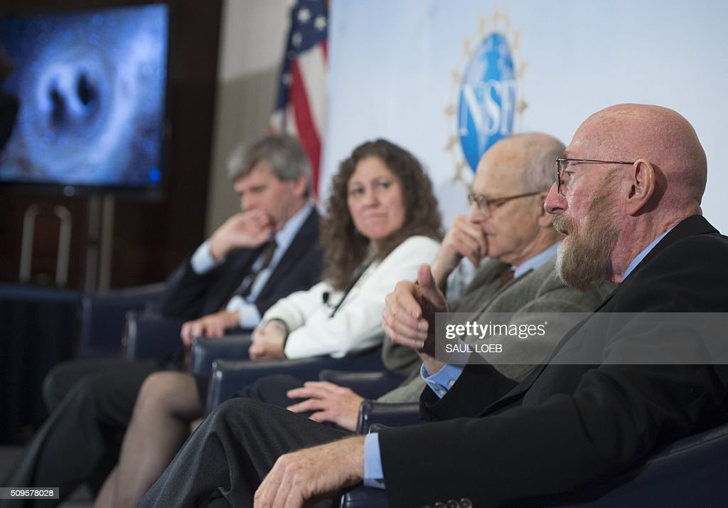 LIGO co-founder Kip Thorne (R), speaks alongside LIGO co-founder Rainer Weiss (2nd R), Gabriela Gonzalez, LIGO spokesperson (2nd L) and David Reitze (L), executive director of LIGO, as they announce that scientists have observed the ripples in the fabric of spacetime called gravitational waves for the first time, confirming a prediction of Albert Einstein's theory of relativity, during a press conference at the National Press Club in Washington, DC, February 11, 2016. The machines that gave scientists their first-ever glimpse at gravitational waves are the most advanced detectors ever built for sensing tiny vibrations in the universe.The two US-based underground detectors are known as the Laser Interferometer Gravitational-wave Observatory, or LIGO for short. LOEB