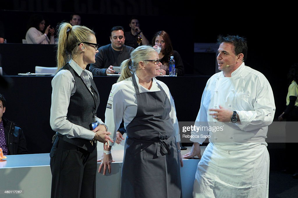 Co-Founder Krissy Lefebvre with chefs Josiah Citrin and Jennifer Jasinski at the All-Star Chef Classic - Grill And Chill Presented By dineLA And Stella Artois at L.A. LIVE on March 22, 2014 in Los Angeles, California.