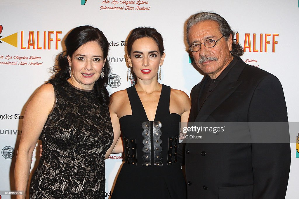 Co-Founder Marlene Dermer, Actors Ana De La Reguera and <a gi-track='captionPersonalityLinkClicked' href=/galleries/search?phrase=Edward+James+Olmos&family=editorial&specificpeople=213817 ng-click='$event.stopPropagation()'>Edward James Olmos</a> attend The 2013 Los Angeles Latino International Film Festival - Closing Night Premiere of 'Nosotros Los Nobles' at The Orpheum Theatre on October 14, 2013 in Los Angeles, California.