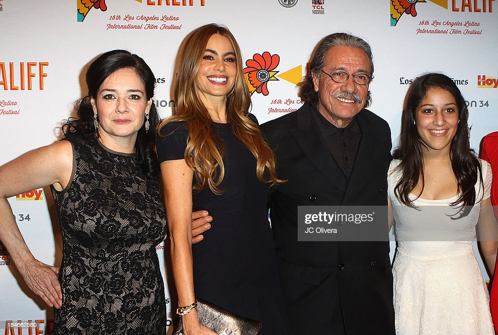 Co-Founder Marlene Dermer, Actors Sofia Vergara, Edward James Olmos and Daniela Olmos attend The 2013 Los Angeles Latino International Film Festival - Closing Night Premiere of 'Nosotros Los Nobles' at The Orpheum Theatre on October 14, 2013 in Los Angeles, California.