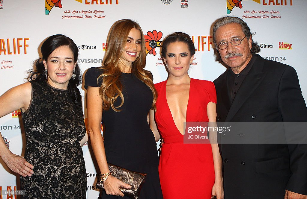 Co-Founder Marlene Dermer, Actors Sofia Vergara, Karla Souza and Edward James Olmos attend The 2013 Los Angeles Latino International Film Festival - Closing Night Premiere of 'Nosotros Los Nobles' at The Orpheum Theatre on October 14, 2013 in Los Angeles, California.