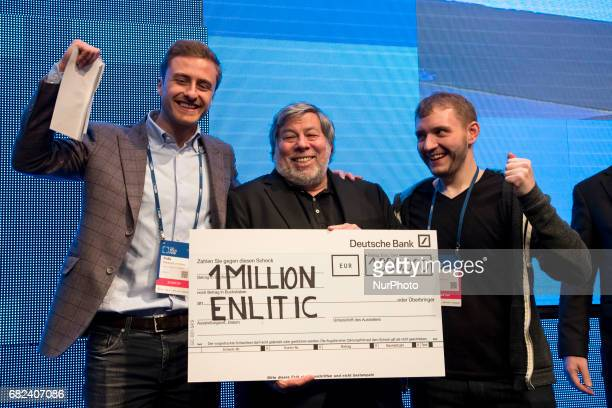 CoFounder of Apple Steve Wozniak poses with Kevin Lyman and Felix BaldaufLenschen of the winning startup Enlitic after the Cube Challenge Award show...