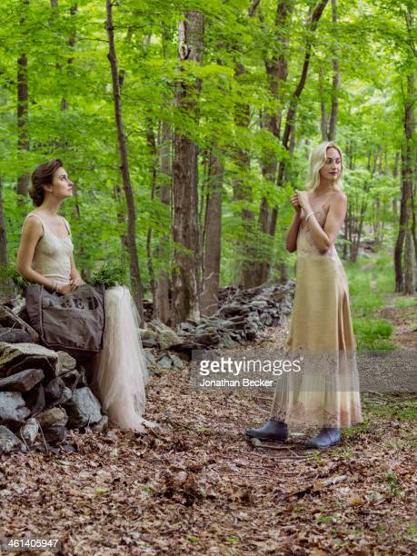 Cofounder of Feed Projects Lauren Bush and artist and heir Claire CourtinClarins are photographed for Town Country Magazine on May 22 2013 in Bedford...
