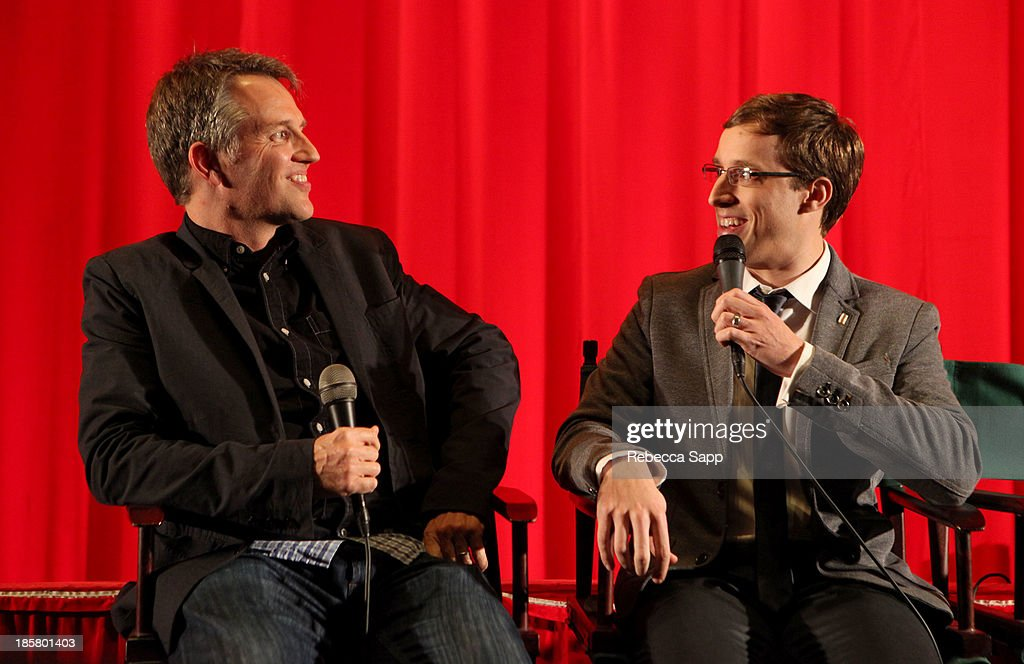Co-founder of Flux Jonathan Wells moderates during a Q&A session with director Josh Greenbaum at Hulu Presents The LA Premiere Of 'Behind the Mask' at the Vista Theatre on October 24, 2013 in Los Angeles, California.