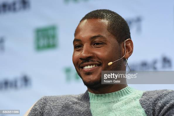 Cofounder of Melo7 Tech Partners Carmelo Anthony speaks onstage during TechCrunch Disrupt NY 2016 at Brooklyn Cruise Terminal on May 11 2016 in New...