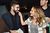 Cofounder of People Mover Inc NaÕeem Adam and TV personality Giada De Laurentiis pose during the Triscuit Maker Fund event on March 23 2016 in New...